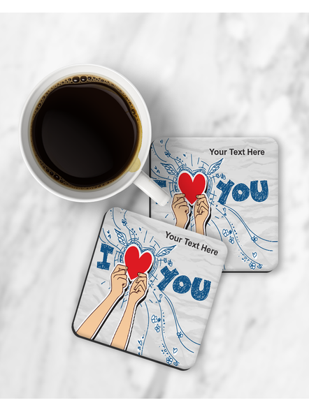 I Love You Holding Heart Printed Designer Square Coaster-RCOSTER0038