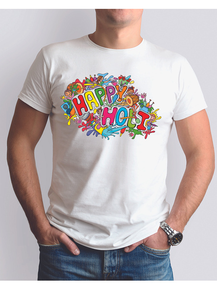 Happy Holi Round Neck Dri fit Tshirt-RNECK0003-White-XL-42-44