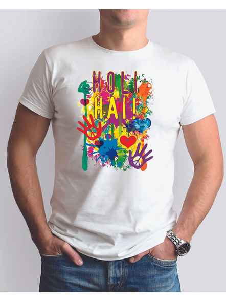 Holi Colors Round Neck Dri fit Tshirt-RNECK0008-White-XS-34-34