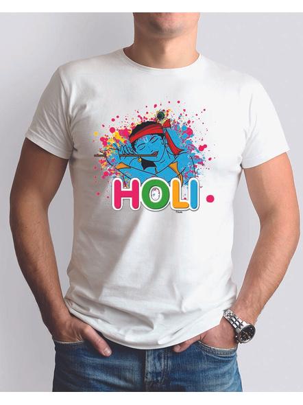 Krishna Holi Round Neck Dri fit Tshirt-RNECK0012-White-XS-34-34