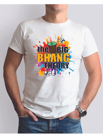 The Bhang Theory Round Neck Dri fit Tshirt-RNECK0013-White-S-36-38