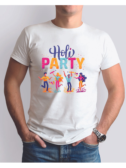 Holi Party Round Neck Dri Fit Tshirt-RNECK0014-White-XXS-32-34