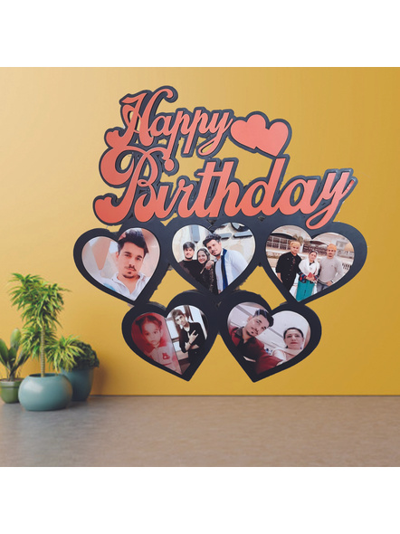 Personalized Happy Birthday Frame 5 Photos (Wooden Frame)-HeartF01