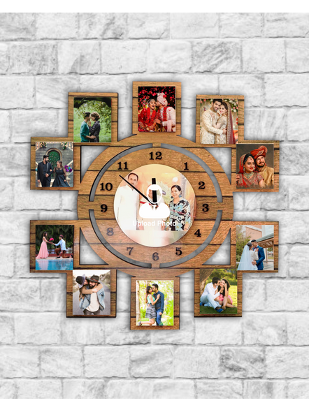 11 Photo Wall Clock Collage-Bir0005-12-12