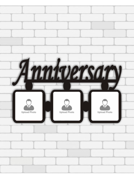 Happy Anniversary wooden Frame 3 photos-12*8Inches-1