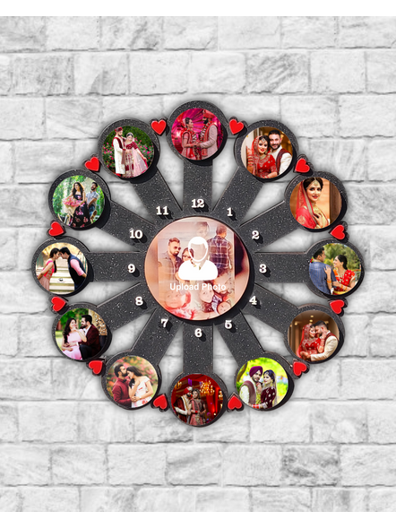 13 Photo Collage wooden Wall Clock-Famfrm00214x14