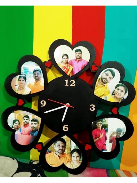 Happy Anniversary Collage Clock Heart Shape 6 Photos-Anniv035-14-14