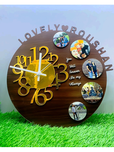 Clock Collage with Name and Text 5 Photos-Frndfrm027-16-16