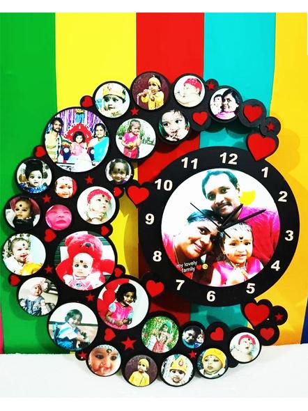 Birthday Moon Shape Collage Clock-Bir0058-14-14