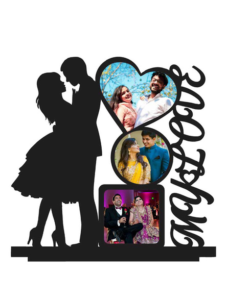 My Love Wooden 3 Photos Table Stand-ptofrm099-12-12