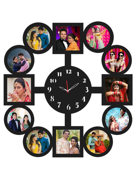 Round Shape 12 Photos Wooden Frame with Clock-ptofrm110-14-14