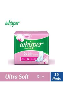 Whisper Ultra Soft Sanitary Pads - XL+ (15 pi...