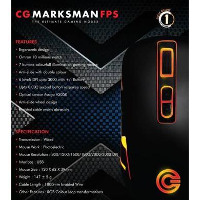 MOUSE GAMING CIRCLE USB CG MARKSMAN FPS-3