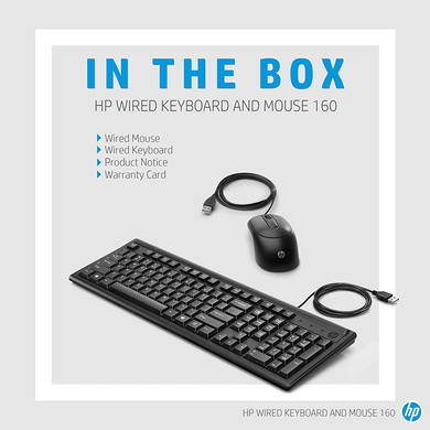 KEYBOARD + MOUSE HP 160 USB-1