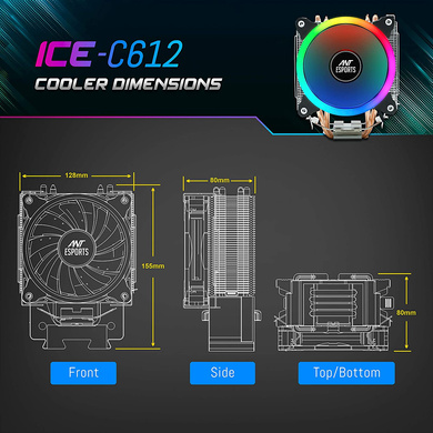 CPU COOLER ANT ESPORTS ICE-C612-4
