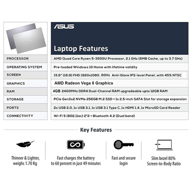 ASUS VivoBook AMD Quad Core Ryzen 5-3500U(4GB RAM/256GB SSD/Win10+Ms Off H&S 2019+McAfee/Integrated Vega 8 Graphics/15.6-inch FHD IPS/ (M515DA-BQ522TS)-4