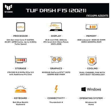 "ASUS TUF Dash F15 -2021 15.6"" FHD 240Hz/3ms, Intel Core i7-11370H 11th Gen, GeForce RTX 3070 8GB Graphics, Gaming Laptop (16GB/1TB SSD/Office 2019/Windows 10/Moonlight White/2 kg), FX516PR-AZ024TS-1"