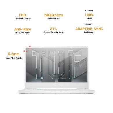 "ASUS TUF Dash F15 -2021 15.6"" FHD 240Hz/3ms, Intel Core i7-11370H 11th Gen, GeForce RTX 3070 8GB Graphics, Gaming Laptop (16GB/1TB SSD/Office 2019/Windows 10/Moonlight White/2 kg), FX516PR-AZ024TS-2"