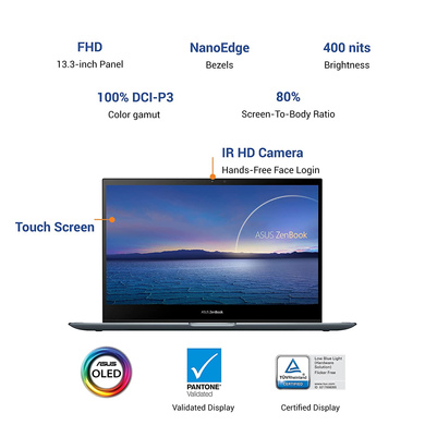 """ASUS ZenBook Flip 13 OLED, Intel Core i5-1135G7 11th Gen, 13.3"""" FHD Touch 2-in-1 Laptop (8GB/512GB SSD + 32GB Optane Memory/Windows 10/Office 2019/Iris Xᵉ Graphics/1.3 kg), UX363EA-HP501TS-2"""