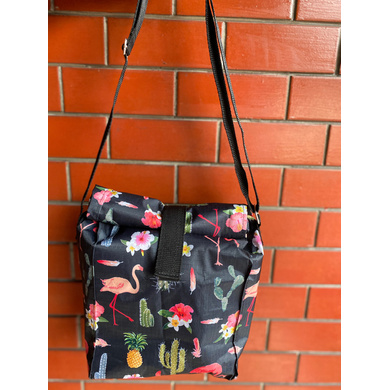 Black Cactus Lunch Bag with Nylon Strap-LBBLACACT