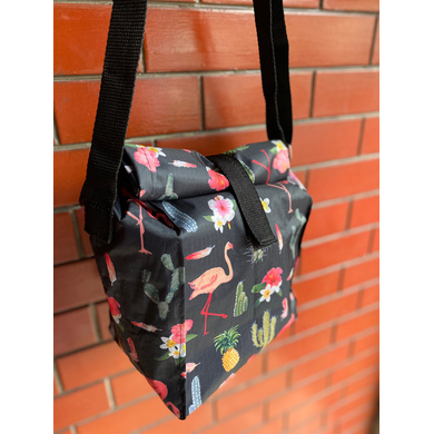 Black Cactus Lunch Bag with Nylon Strap-1