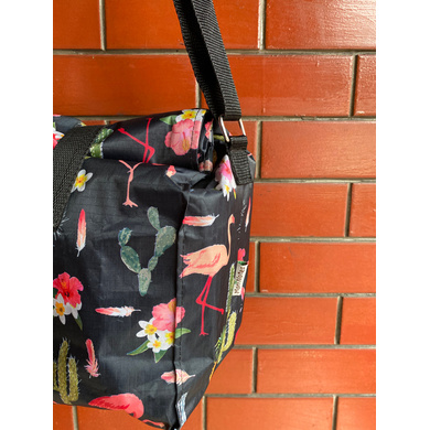 Black Cactus Lunch Bag with Nylon Strap-3
