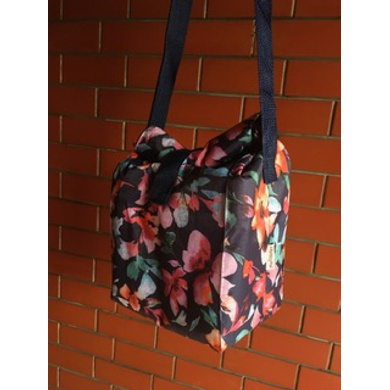 Navy floral waterproof Lunch Bag with Nylon Strap-1