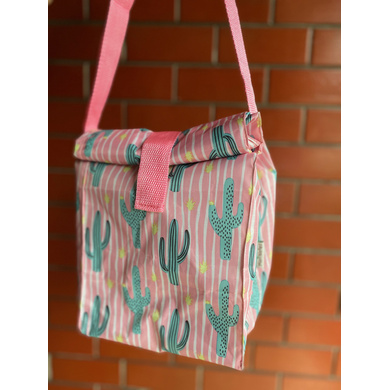 Pink Cactus Lunch Bag with Nylon Strap-2