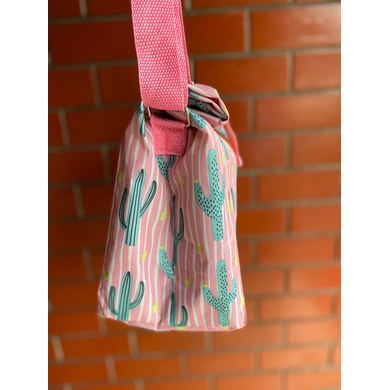 Pink Cactus Lunch Bag with Nylon Strap-1