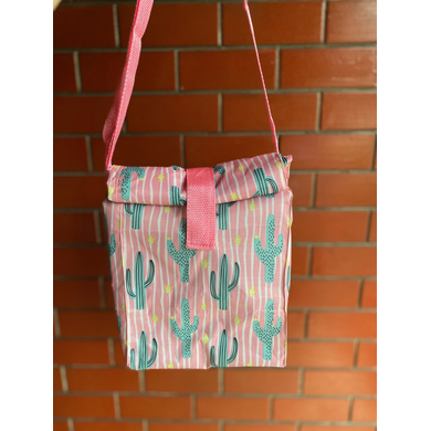 Pink Cactus Lunch Bag with Nylon Strap-LBPINCACT