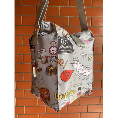 Grey Travel Lunch Bag with Nylon Strap-2