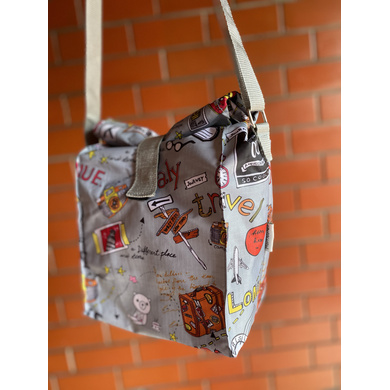 Grey Travel Lunch Bag with Nylon Strap-1