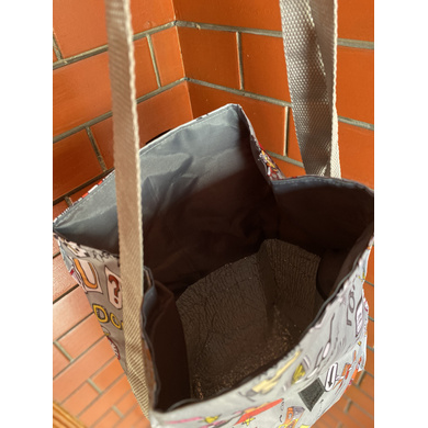 Grey Travel Lunch Bag with Nylon Strap-3