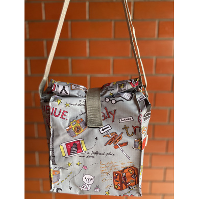 Grey Travel Lunch Bag with Nylon Strap-LBGREYTR