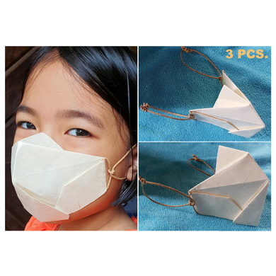 (Small - 3 Pcs.) 100% Biodegradable Abaca Origami Face Mask-OAFM-001