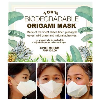 (Medium - 3 Pcs.) 100% Biodegradable Abaca Origami Face Mask-5