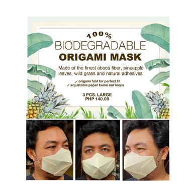 (Large - 3 Pcs.) 100% Biodegradable Abaca Origami Face Mask-4