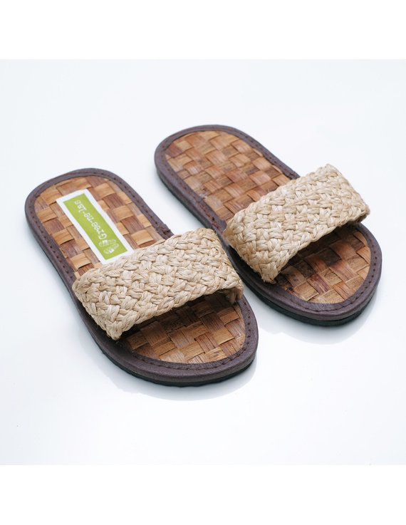 *SALE* Gree-ne-las Basic Slides for KIDS, banig insole, woven Abaca straps, with rubber outsole-BSKw1-2