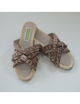 *SALE* Abaca-Pandan Sandals, double-cross, brown-ABDX-3-sm