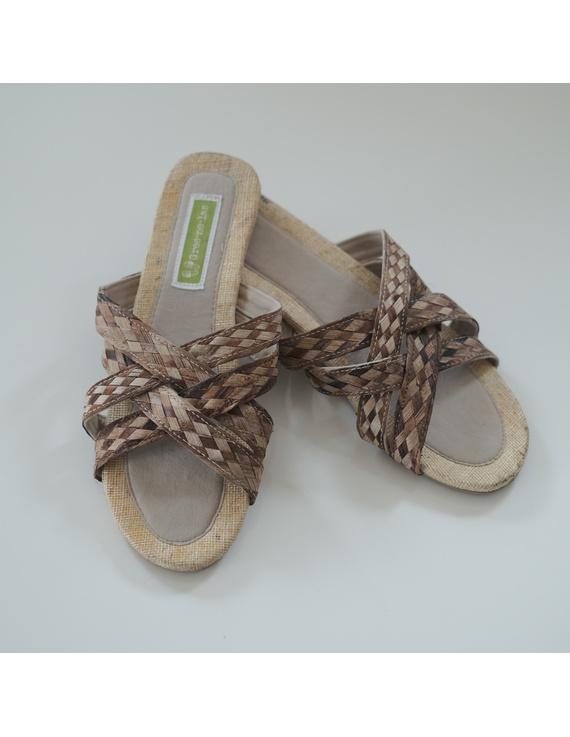 *SALE* Abaca-Pandan Sandals, double-cross, brown-ABDX-3