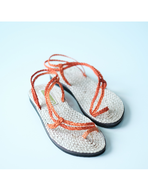 *SALE* Women Abaca Sandals, salapid orange summer strap-WASO-1