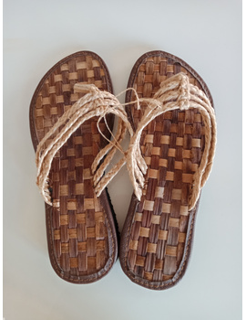*SALE* Abaca Banig Sandals, natural salapid straps-ABSS-1-sm