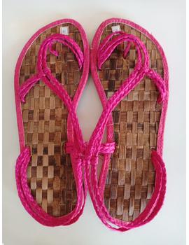 *SALE* Abaca Banig Sandals, pink salapid straps-ABSP-1-sm