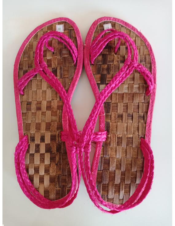 *SALE* Abaca Banig Sandals, pink salapid straps-ABSP-1