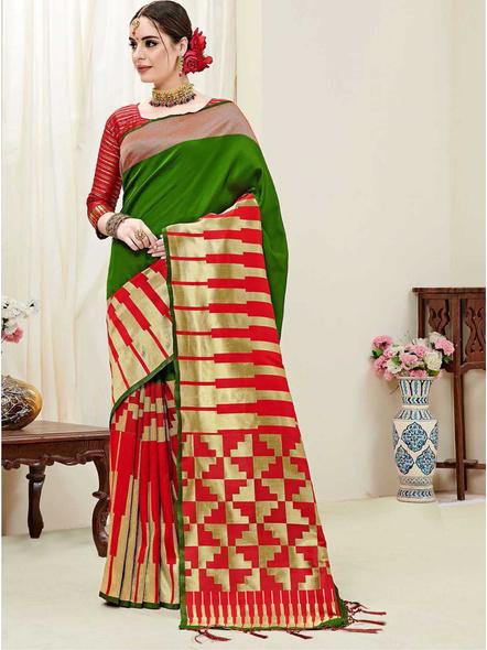 Red Banarasi Silk Woven Saree With Blouse Piece-10514964