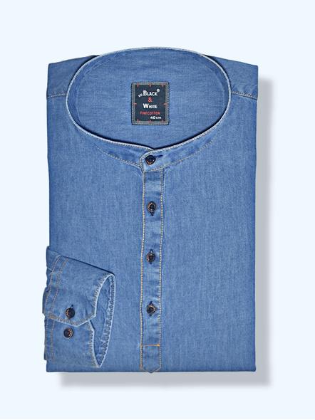 Black & White Men Casual Slim Fit Denim Shirt-6921418