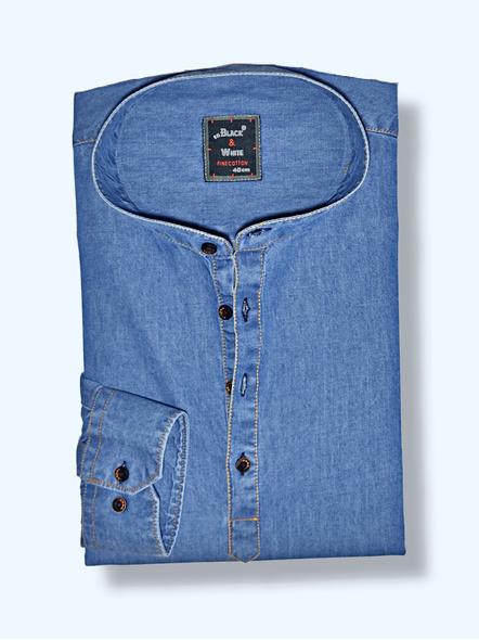 Black & White Men Casual Slim Fit Denim Shirt-38-1