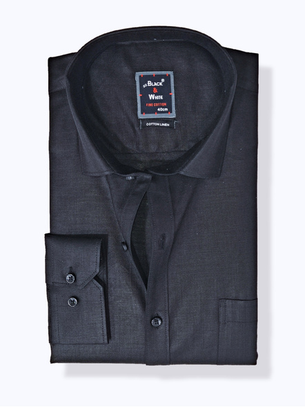 Black & White Men Black Slim Fit Solid Formal Shirt-FSB-1