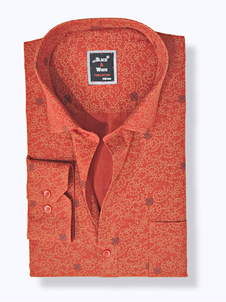 Black & White Men Formal Shirt-Slim Fit,Full sleeve,Red Colour With Printed Design-FSRD-1