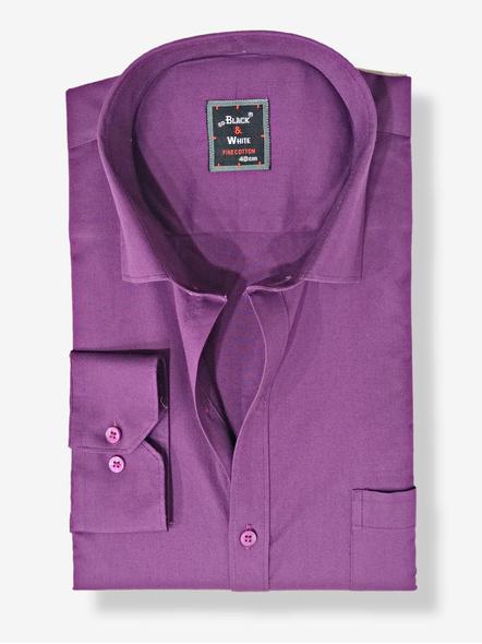 Black & White Men Formal Shirt-Slim Fit,Full sleeve, Purple Plain-FSPL-1